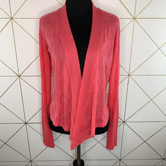 Title Nine Washable Wool Pink Open Front Cardigan